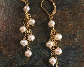 Pearl Earrings, Freshwater Pearls, Gold Earrings, Cascading Pearl Earrings, Hanging Earrings, White Pearl Earrings, Bridal Earrings, Wedding