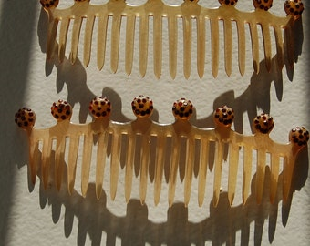 1920s Celluloid Hair Combs, 20s Flapper Bandeau,  Slide Pair Combs, Red Rhinestones, Gatsby Style, Lady Mary, Vintage Wedding, Vintage Hair