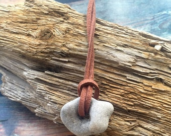 Power of  Nature - Suede Cord Necklace With Natural Holey Stone -  Holey / Holy / Hag / Odin Fairy Dream Stone Rock And  String