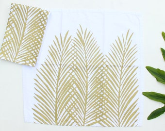 Gold Palm Leaf Cloth Napkins - Shimmery Gold Hand Print - Tropical Print - Palm Leaf Design - Gold and White Dinner Napkins