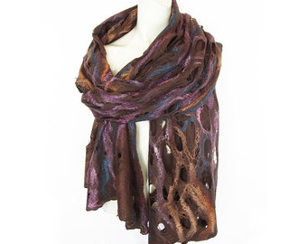 Hand Felted Scarf Shawl Cobweb Merino Wool and Silk Brown Orange Pink Emerald Blue Lacy Spring Shawl Extra Long
