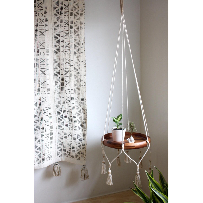 Hanging Tables: Cotton Hanging Table Holder Boho Hanging Planter Macrame