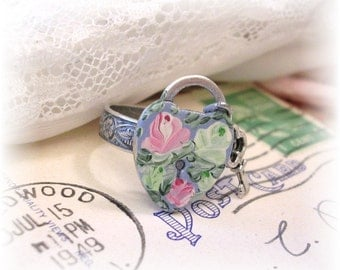 Victorian Padlock Ring Charm Key Adjustable Band Hand Painted Floral Silver Ring Pink Green Roses Blue Patina Enamel Flowers Shabby Chic