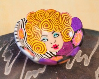 Lady bowl. Miniature bowl. Ring bowl. Colorful bowl. Blonde lady bowl. Polymer clay bowl. Millefiori bowl. Fimo bowl. One of a kind bowl.