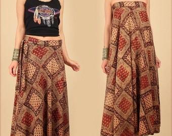 ViNtAgE Indian Cotton Maxi Wrap Skirt Block Print 70s Bias Cut Hippie Bohemian Floral Mandala Festival Dress Free Size