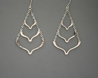 sterling silver lotus chevron triple tier earrings, Rachel Wilder Handmade Jewelry