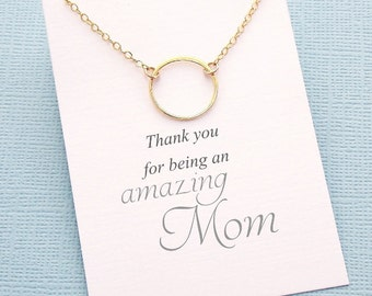 Gift for Mom | Eternity Necklace, Gold Circle Necklace, New Mom Necklace, Gift for Moms, Gift for Mother, Karma Necklace | M11