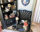 1:12 scale witch's reading room scene hidden inside a witch's grimoire