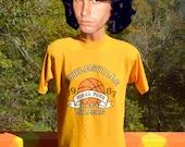 vintage 80s t-shirt NOBLESVILLE high school basketball tee Large Medium soft gold indiana