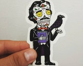 Edgar Allan Poe Calavera Clear Die Cut Vinyl Sticker