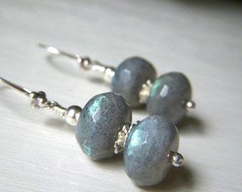 Labradorite Earrings Sterling Silver, Flashy Labradorite Gemstone Rondelle Dangle Earings, Stacked Labradorite Sterling Jewelry