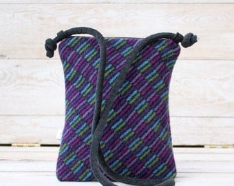 Cross Body Style Colorful Wool Purse in Jewel Tones