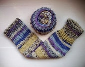 Chunky warm leg warmers, multi striped Fair Isle effect, blue,purple, white, cream knit wool cotton mix