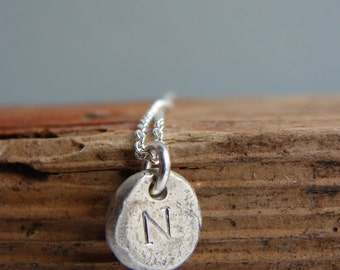 Initial Necklace Pebble Rustic Jewelry Personalized Jewerly Gifts for Her