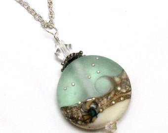 OCEAN WAVE Seafoam Handmade Lampwork Glass Sea Glass Necklace by Lynn SRA, Nc2177, Sterling Silver, crystal, Beach jewelry gift
