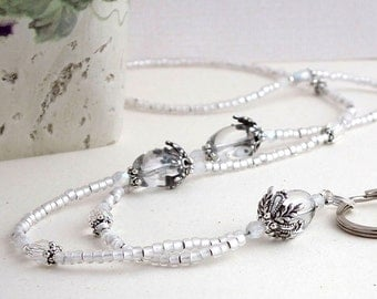 Beaded Lanyard - Clear Glass Beads and Crystals. Decorative Silver Pewter Bead Caps