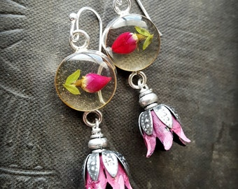 Sterling Silver Earrings, Floer Earrings, Rustic, Cottage Chic, Organic, Beaded Earrings