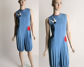 Vintage Bowling Romper - Novelty Denim Blue Cotton Jumpsuit with Bowling Ball and Pins - Drop Waist
