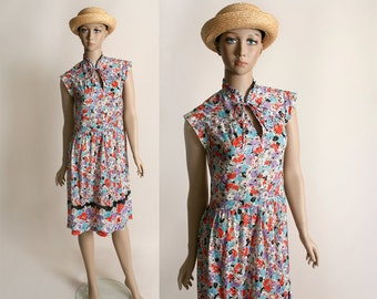Vintage 1970s Sheer Floral Dress - Spring Garden Poppy Print Dress - Medium Large