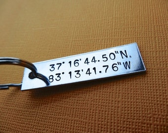 Latitude and Longitude Keychain - Custom Coordinates Keychain - Hand stamped Accessory
