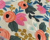 Rifle Paper Co Fabric, Canvas Linen fabric, Cotton and Steel fabric, Les Fleurs by Ana Bond, Canvas fabric, Rosa in Natural- Choose the cut