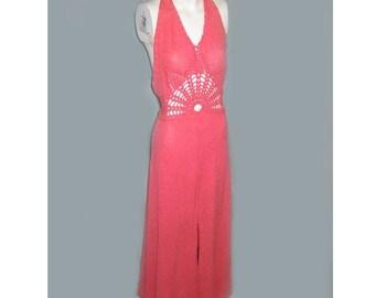 Vintage 1970's Pink Halter Dress with Crochet Panel