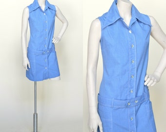 Vintage Scooter Dress --- 1960s Denim Skort Dress