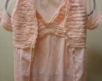 Vintage French Pink Night Gown Nitie Dressing Gown Robe and Panties 3 Piece Set 1960's M