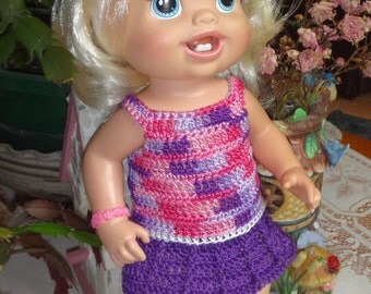 Crochet outfit Baby Alive Princess or New Teeth 12 13 inch baby doll Dress set Outfit flower Pink Purple White