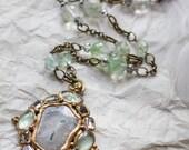 White-green solar quartz long chain pendant (N-4135)