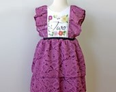 Second Birthday Party Dress for Toddler Girl, Plum Mauve Rose Lace