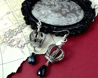HIGH BORN - Royal Crown and Antique Key Crystal Charm Earrings