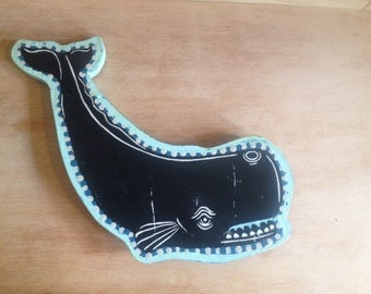 Art, Whale Woodcut Art Print on Wood, Ready to Hang Wall Art, Sperm Whale Art, Mixed Media Art