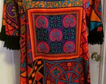 Vintage 70's Psychedelic Print Dress, Maxi Dress, Hippie,Boho, Polyester, Size M/L