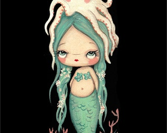 Mermaid Print Cute Nautical Girl Octopus Wall Art blue Mermaid