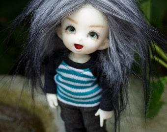 BJD Wig Stone Grey gradient faux fur doll wig SIZE CHOICE