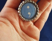 ONE 'Blue Semicolon' Bottle Cap Charm Keychain