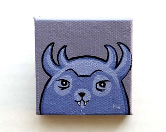 Cute Monster Painting Miniature - Monster Tiny Art - Original Woodland Purple Wall Art Acrylic on Canvas 2 x 2 Inches