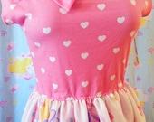 Barbie dress, fairy kei 80s retro heart pop kei size L large