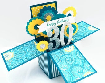 Pop Up Birthday Card - 30th Birthday Card - 3D Teal, Yellow, Silver Floral Explosion Card - Choose any Age - 40, 60, 70, 80 - Card in a Box