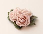 Pink rose clip, Flower hair clip, Floral bridal hair clip, Blush rose millinery, vintage wedding, unique bridal hair