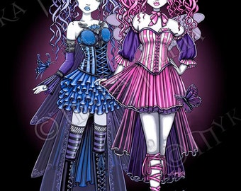 Haylee Maegan Gothic Couture Fairy Sisters Signed Fine Art Print