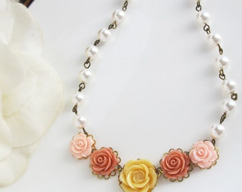 Floral Statement Nature Woodlands Garden Inspired Flower Necklace. Light Butterscotch Yellow Plum and Pink Roses Necklace