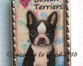 BOSTON TERRIER DOG Keyring, keychain, handbag charm with print from original painting by Suzanne Le Good