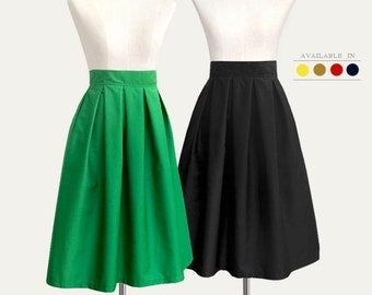 Cotton pleated midi skirt with pockets - custom size, length in black, blue, gray, pink, brown, mustard yellow, navy blue, tan, red, mint