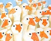Geese Bird Art PRINT / Watercolor painting / Goose art Nature painting / Flock of bird art / Kids Children Child Baby Duck art / N