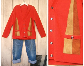 Mens Mod Cardigan / 50s 60s campus sweater / SUEDE, burnt orange, double knit, abalone buttons, pockets / unisex mens med, womens lg large