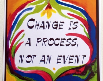 CHANGE Is A PROCESS Inspiration Motivation Sobriety Mindfulness Eating Disorder Recovery Sponsor Support Heartful Art by Raphaella Vaisseau