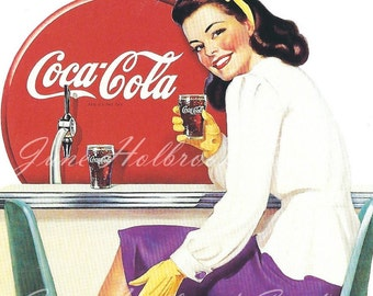 Digital Download Vintage PostCard and Calendar Images Beautiful Girls Drinking Coca Cola 0021