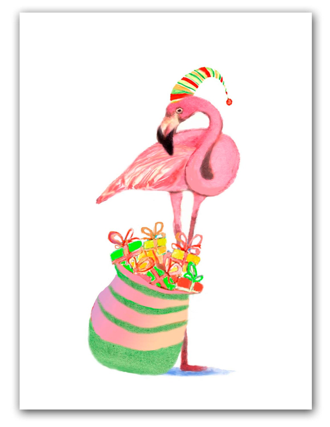Flamingo Christmas cards Tropical Christmas 10 per greeted